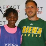 Lajae Langford pictured with coach Brandon Denoyer from Siena College